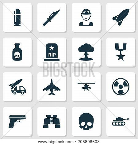 Army Icons Set. Collection Of Panzer, Military, Chopper And Other Elements