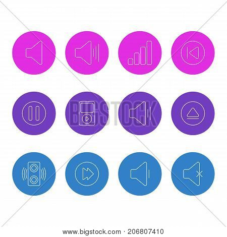 Editable Pack Of Lag, Acoustic, Preceding And Other Elements.  Vector Illustration Of 12 Melody Icons.