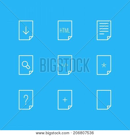 Editable Pack Of Question, Plus, Document And Other Elements.  Vector Illustration Of 9 Page Icons.