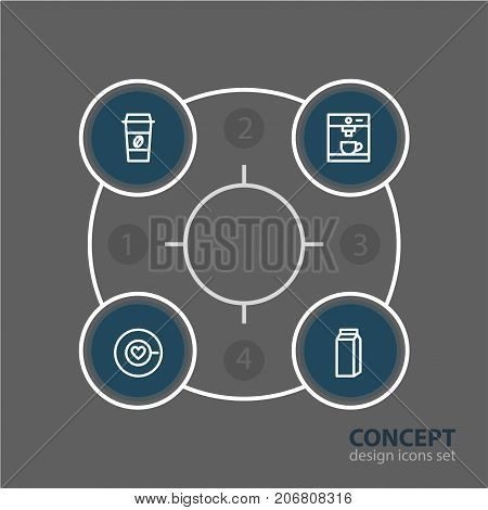 Editable Pack Of Saucer, Espresso, Coffee To Go And Other Elements.  Vector Illustration Of 4 Coffee Icons.