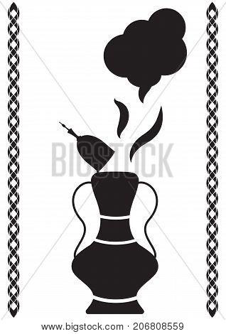 Magic oil lamp vector illustration of Arabian fairytale. Isolated on white magic lamp silhouette