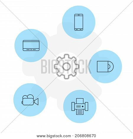 Editable Pack Of Monitor, Camcorder, Dvd Drive And Other Elements.  Vector Illustration Of 5 Accessory Icons.
