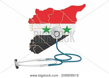 Syrian map with stethoscope national health care concept 3D rendering