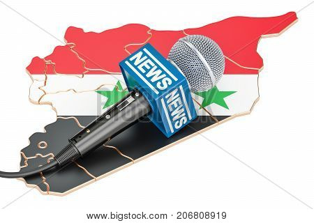 Syrian News concept microphone news on the map of Syria. 3D rendering