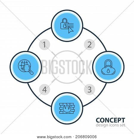 Editable Pack Of Confidentiality Options, Network Protection, Safe Storage And Other Elements.  Vector Illustration Of 4 Data Icons.