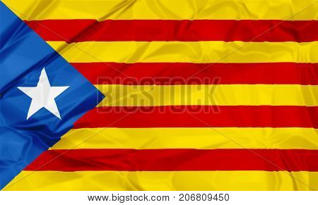 Waving Estelada Blava flag of Catalonia in Spain, or Eastern Catalan, red and yellow stripes with five pointed star in a triangle. Senyera estelada or starred flag or lion star flag. 3d background.