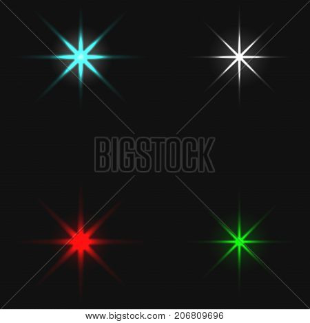 Xmas colored stars collection. Star xmas christmas vector holiday celebration design illustration of bright stars