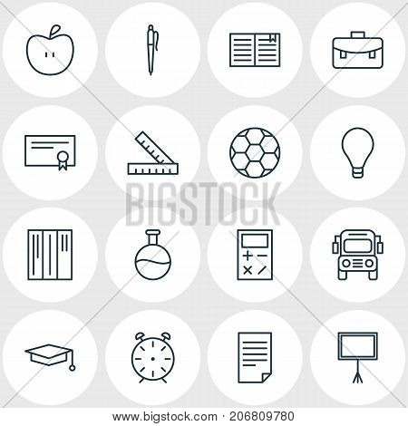 Editable Pack Of Diploma, Meter, Textbook And Other Elements.  Vector Illustration Of 16 Studies Icons.