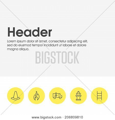 Editable Pack Of Burn, Taper, Water And Other Elements.  Vector Illustration Of 5 Extra Icons.