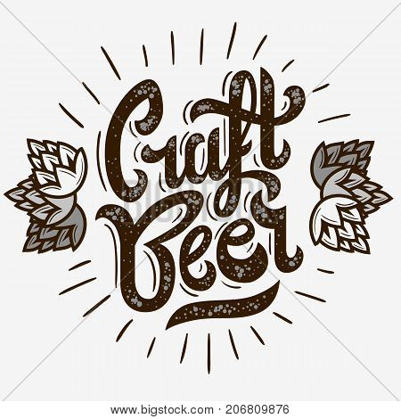 Craft Beer Script Lettering Logo With Sunrise And Hops Illustration. Vector Graphic.