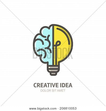 Vector Logo Icon, Emblem With Brain And Light Bulb. Abstract Flat Linear Illustration.