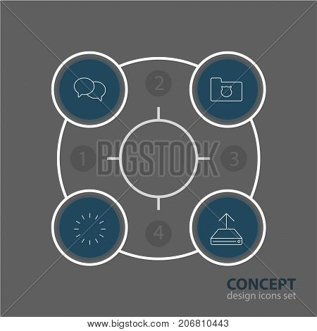 Editable Pack Of Waiting, Hdd Sync, Talking And Other Elements.  Vector Illustration Of 4 Web Icons.