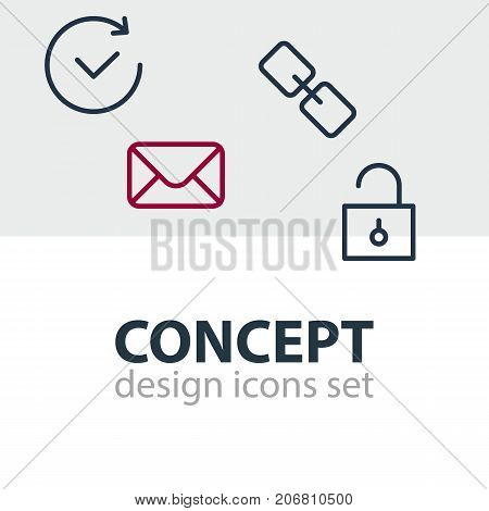 Editable Pack Of Time, Padlock, Url And Other Elements.  Vector Illustration Of 4 Application Icons.