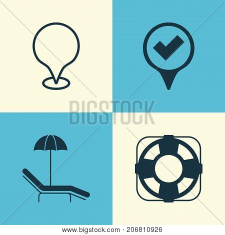 Travel Icons Set. Collection Of Map Pointer, Checked Pointer, Sea Rescue And Other Elements