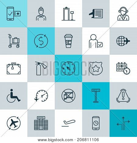 Traveling Icons Set. Collection Of Appointment, Suitcase, Locate And Other Elements