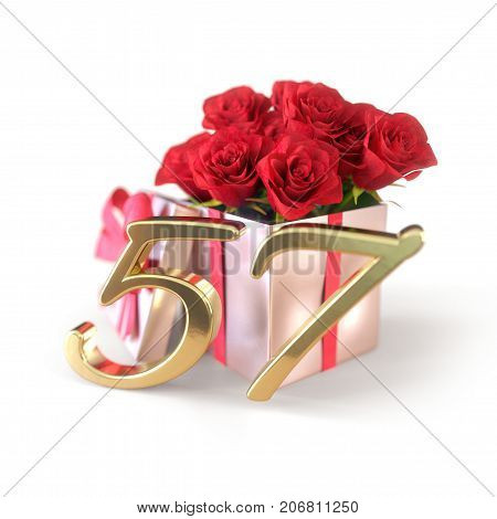birthday concept with red roses in gift isolated on white background. 3D render - fifty-seventh birthday. 57th