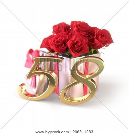 birthday concept with red roses in gift isolated on white background. 3D render - fifty-eighth birthday. 58th
