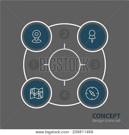 Editable Pack Of Compass, Marker, Location And Other Elements.  Vector Illustration Of 4 Location Icons.