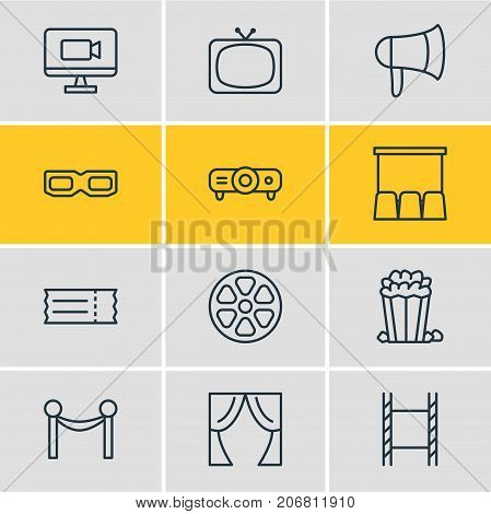 Editable Pack Of Snack, Coupon, Cinema Fence And Other Elements.  Vector Illustration Of 12 Film Icons.