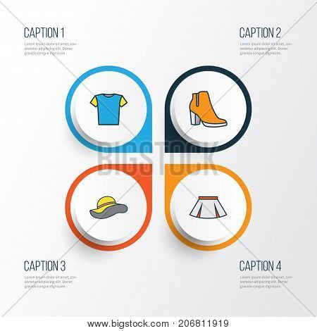 Garment Colorful Outline Icons Set. Collection Of T-Shirt, Elegant Headgear, Female Boots And Other Elements