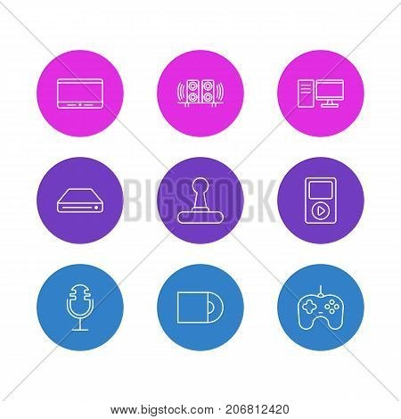 Editable Pack Of Sound Recording, Media Controller, Memory Storage And Other Elements.  Vector Illustration Of 9 Hardware Icons.