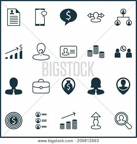 Human Icons Set. Collection Of Find Employee, Curriculum Vitae, Increase And Other Elements
