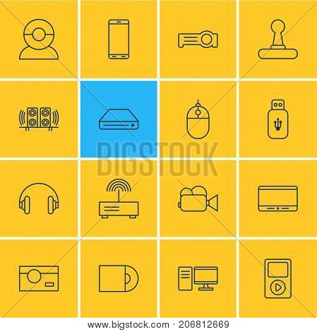 Editable Pack Of Video Chat, Headset, Photography And Other Elements.  Vector Illustration Of 16 Technology Icons.