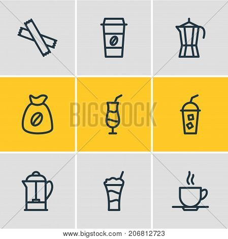 Editable Pack Of Coffee To Go, Sweetener, Mocha And Other Elements.  Vector Illustration Of 9 Java Icons.