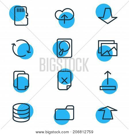 Editable Pack Of Memory, Datacenter, Hdd And Other Elements.  Vector Illustration Of 12 Storage Icons.