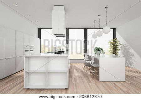 Modern white kitchen with open plan dining area and centre island , wooden floor , hanging ceiling lights and a large window. 3d render