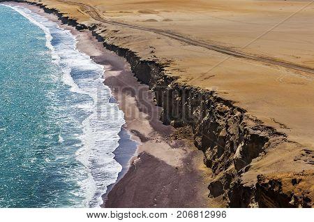 Coastline, Paracas National Reserve, Ica Region, Peru. Paracas desert. Atacama desert.Cliffs in the Paracas National Reserve on the Pacific coast of Peru.