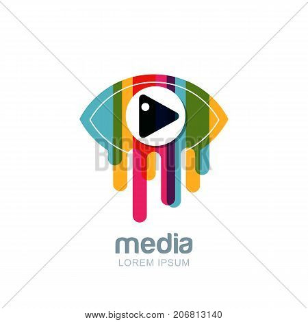 Vector Colorful Abstract Eye Logo, Sign, Emblem Design Element. Media, Cctv, Television Broadcast An