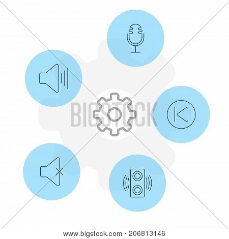Editable Pack Of Volume Up, Soundless, Preceding And Other Elements.  Vector Illustration Of 5 Melody Icons.