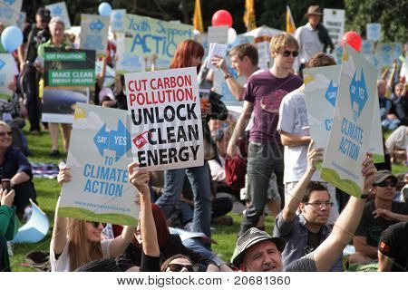 Brisbane, Australia - June 6 : Crowds With Say Yes To Cutting Carbon Pollution And Clean Energy Sign