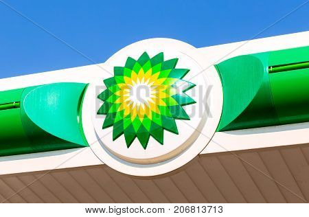Moscow Russia - August 17 2017: BP - British Petroleum petrol station logo over blue sky. British Petroleum is a British multinational oil and gas company