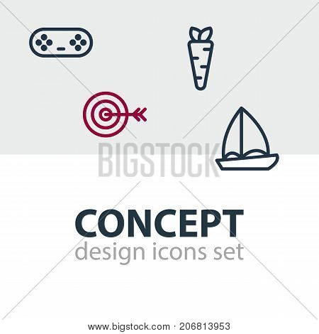 Editable Pack Of Veggie, Yacht, Joystick And Other Elements.  Vector Illustration Of 4 Leisure Icons.