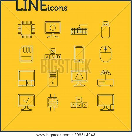Editable Pack Of Mainframe, Antivirus, Cursor Manipulator And Other Elements.  Vector Illustration Of 16 Notebook Icons.