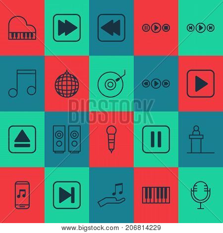 Audio Icons Set. Collection Of Mike, Start Song, Audio Buttons And Other Elements