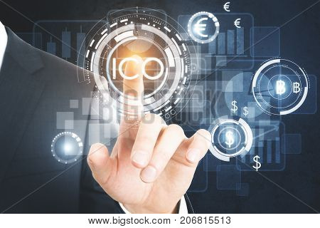 Businessman pressing abstract glowing digital currency button ICO initial coin offering on virtual digital electronic user interface. Infograph concept. 3D Rendering