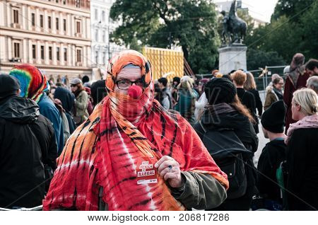 Vienna Austria - October 1 2017: People in costumes of mimes and clowns protest against Austrian ban on full-face veil in public places