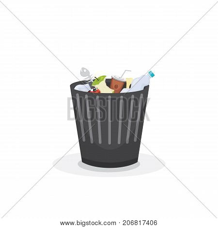 Trash bin garbage container and trash bin recycle symbol vector.