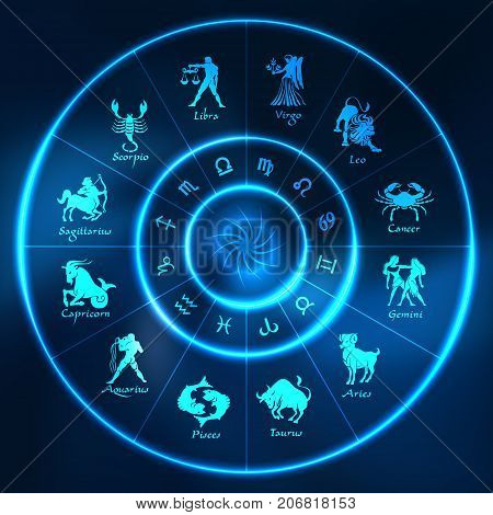 Blue neon horoscope circle.Circle with signs of zodiac.Vector illustration