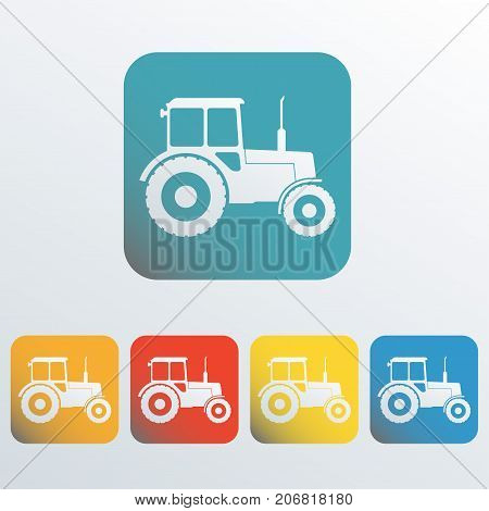Tractor icon set. Tractor sign in flat style. Colorful vector illustration.