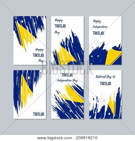 Tokelau Patriotic Cards For National Day. Expressive Brush Stroke In National Flag Colors On White C