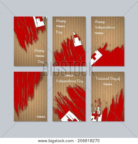 Tonga Patriotic Cards For National Day. Expressive Brush Stroke In National Flag Colors On Kraft Pap