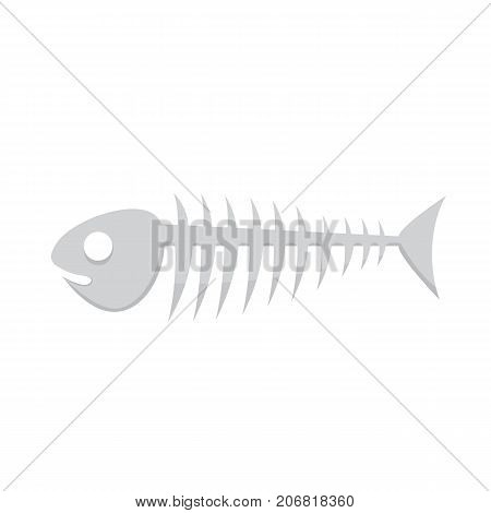Fish bone vector illustration of skeleton isolated.