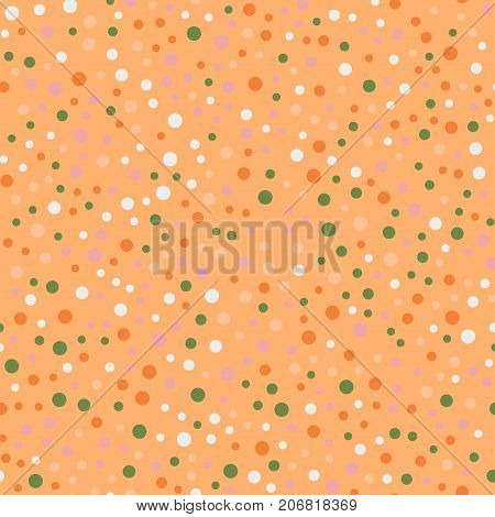 Colorful Polka Dots Seamless Pattern On Bright 14 Background. Unique Classic Colorful Polka Dots Tex