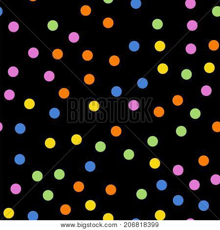 Colorful Polka Dots Seamless Pattern On Black 2 Background. Symmetrical Classic Colorful Polka Dots