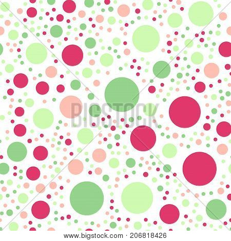 Colorful Polka Dots Seamless Pattern On White 20 Background. Ravishing Classic Colorful Polka Dots T