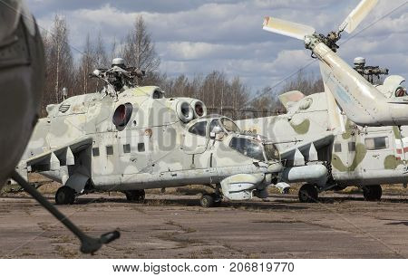 Abandoned old Soviet military chopper an abandoned airport